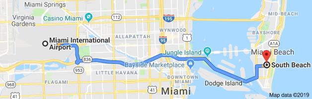 omo ir del aeropuerto de Miami al centro